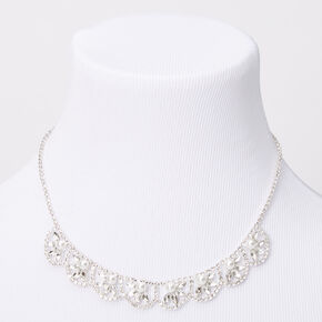 Silver Rhinestone Pearl Scalloped Leaf Statement Necklace,