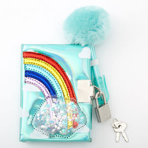 Claire's Club Rainbow Mini Lock Diary - Blue,