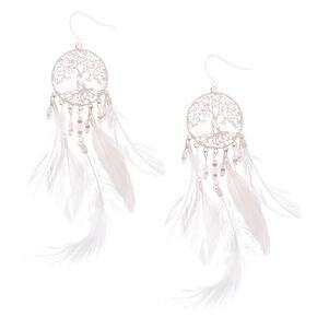 """Silver 4"""" Tree Dreamcatcher Feather Drop Earrings,"""