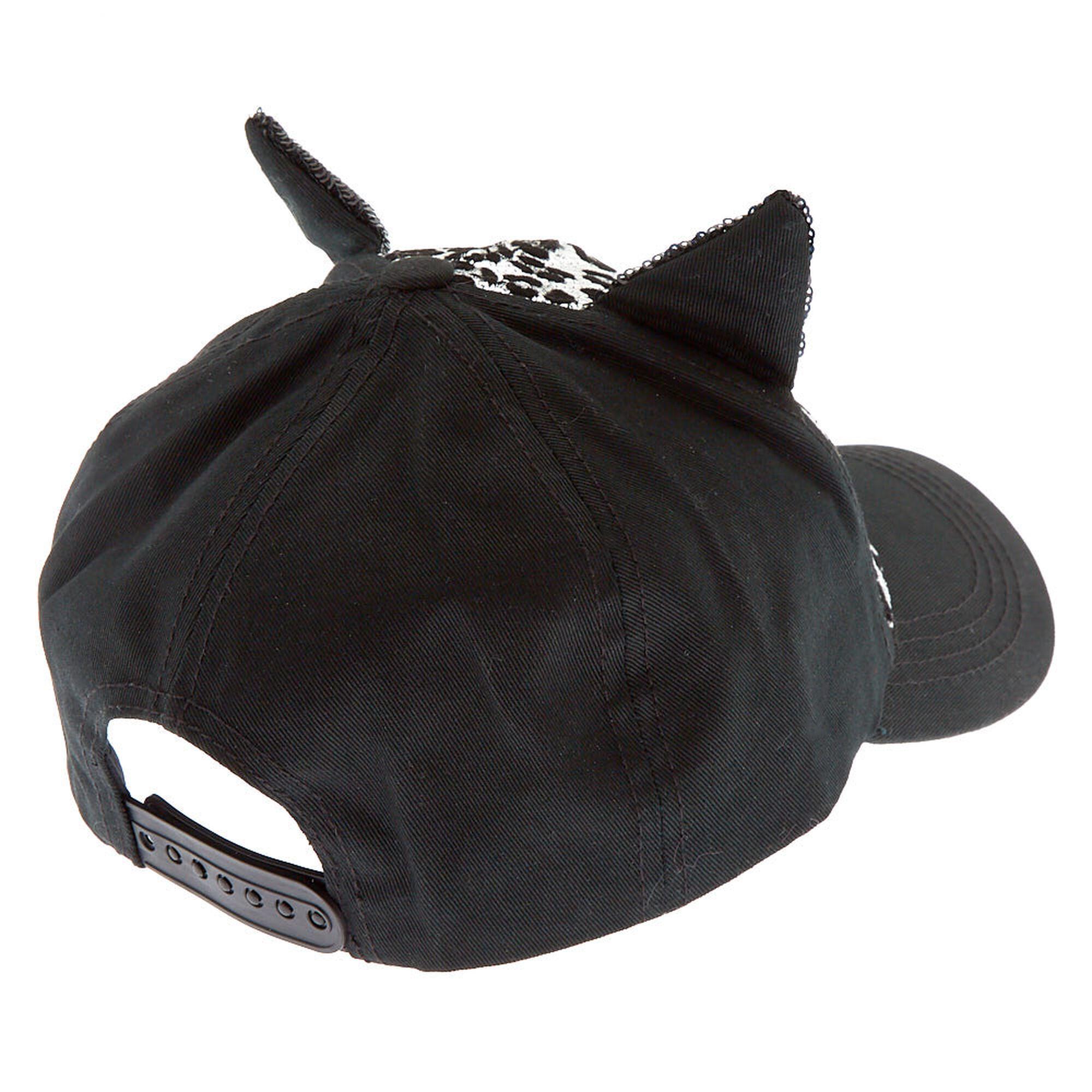 ed515035e Sequin Leopard Cat Ear Baseball Cap - Black