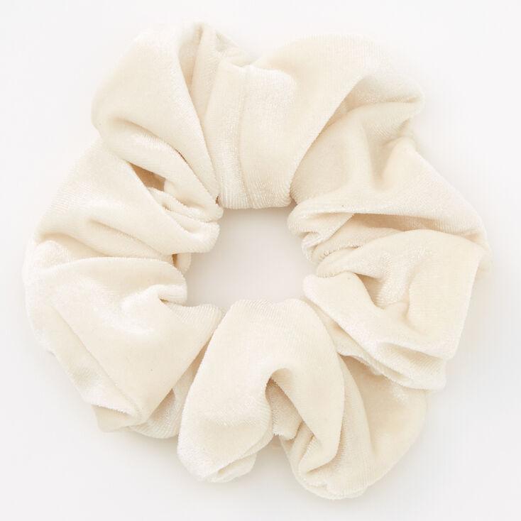 Chouchou plat en imitation velours de taille moyenne - Couleur ivoire,