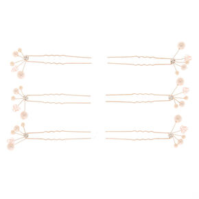 Rose Gold Pearl Fan Hair Pins - 6 Pack,