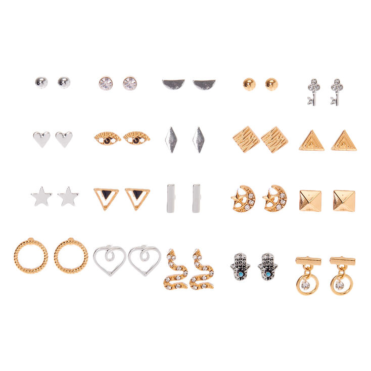 Mixed Metal Mystical Shapes Stud Earrings - 20 Pack,