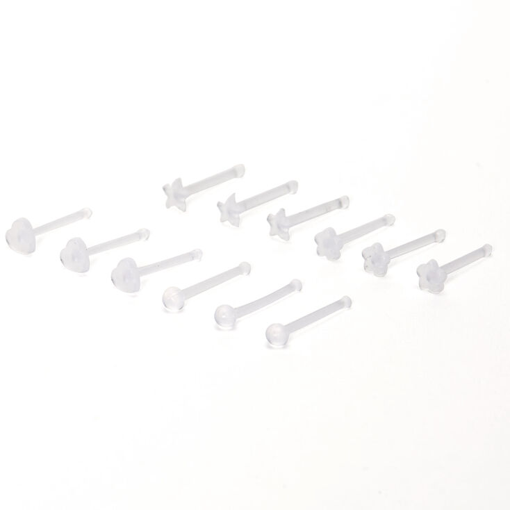 Clear 20G Flower Heart Star Nose Retainers - 12 Pack,