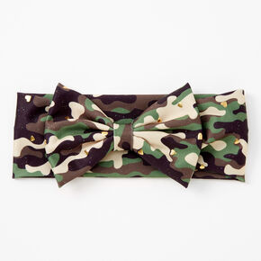 Claire's Club Camo Heart Print Bow Headwrap - Green,