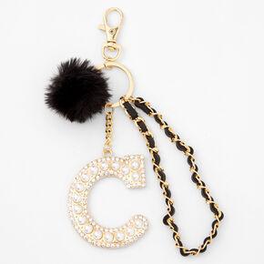 Gold Bling Initial Pom Pom Keyring - Black, C,