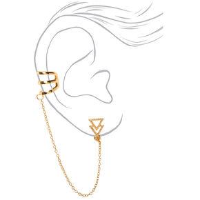 Boucles d'oreilles à chaîne avec double triangle couleur dorée,