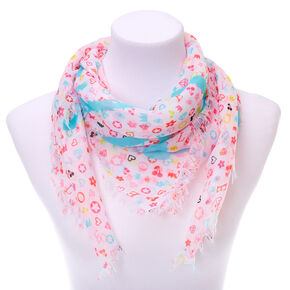 Square Signature Print Fashion Scarf - White,