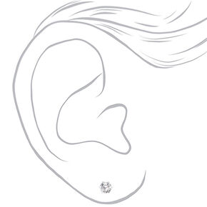 Silver Cubic Zirconia 5MM 6MM 7MM Round Stud Earrings,