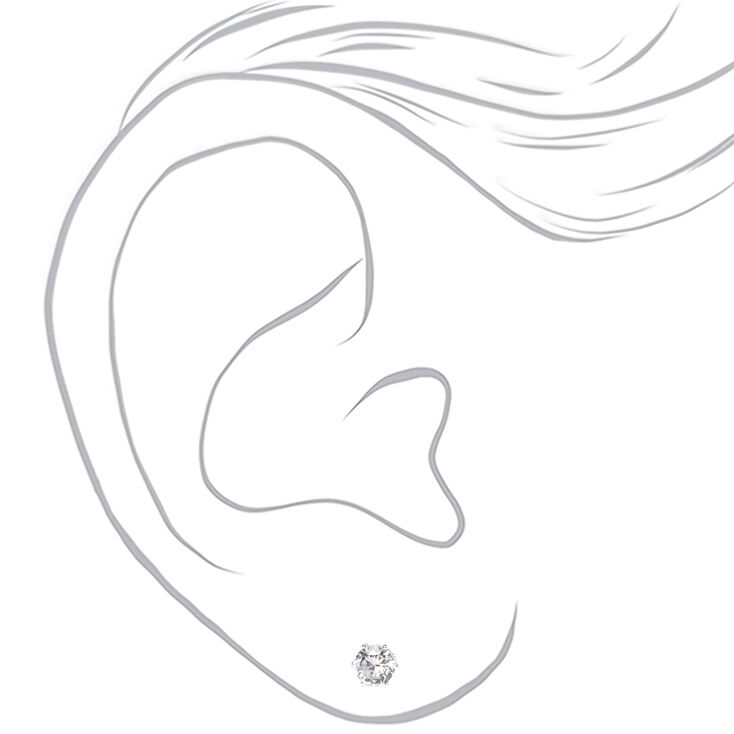 Silver Cubic Zirconia 5MM 6MM 7MM Round Stud Earrings,