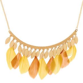 Collier volumineux barres et plumes jaunes couleur doré,