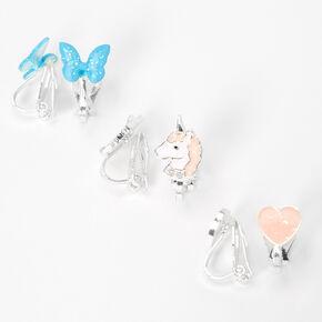 Glitter Unicorn Heart Clip On Earrings - 3 Pack,