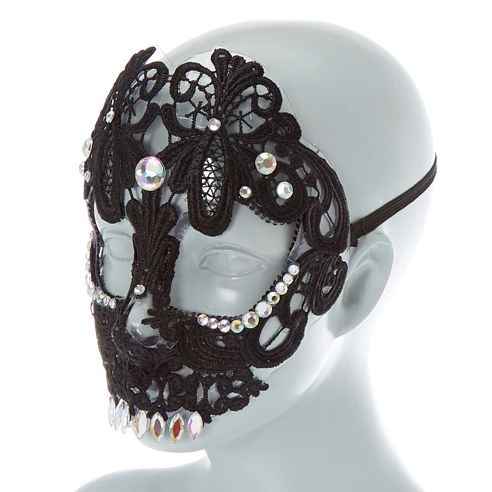 Claire/'s Girls Black Lace /& Stone Detail Halloween Necklace