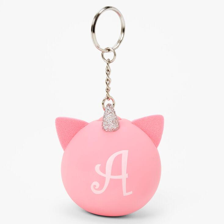 Initial Unicorn Stress Ball Keychain - Pink, A,