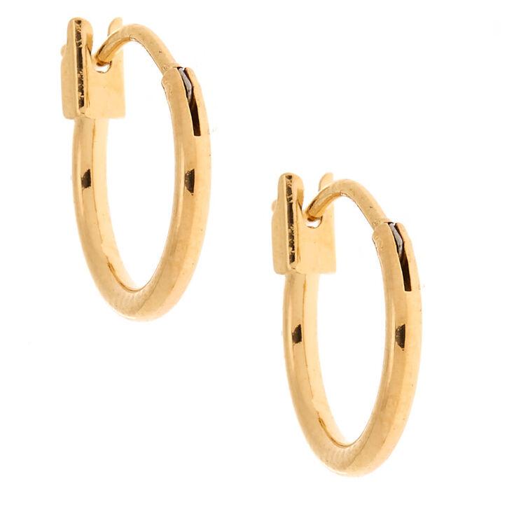 18kt Gold Plated 12MM Hoop Earrings,