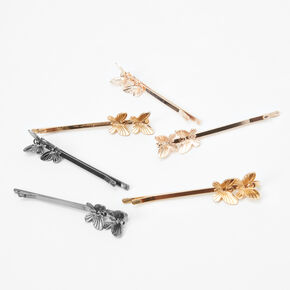 Mixed Metal Duo Butterfly Hair Pins - 6 Pack,