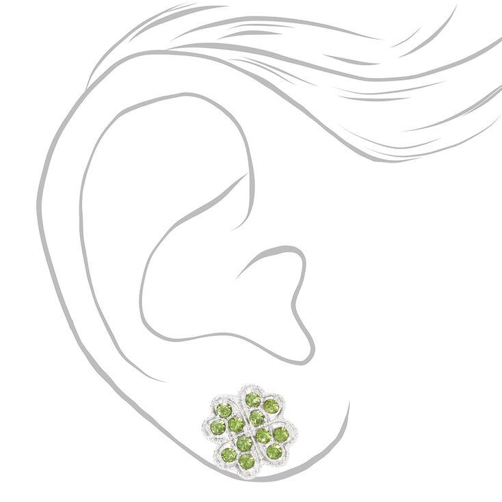 Faux Gemstone Shamrock Stud Earrings - Green,