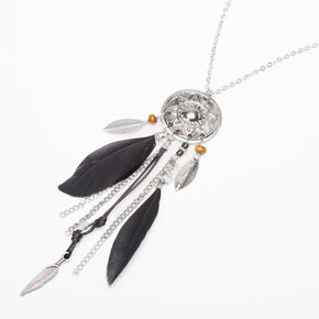 Silver Feather Medallion Long Pendant Necklace - Black,