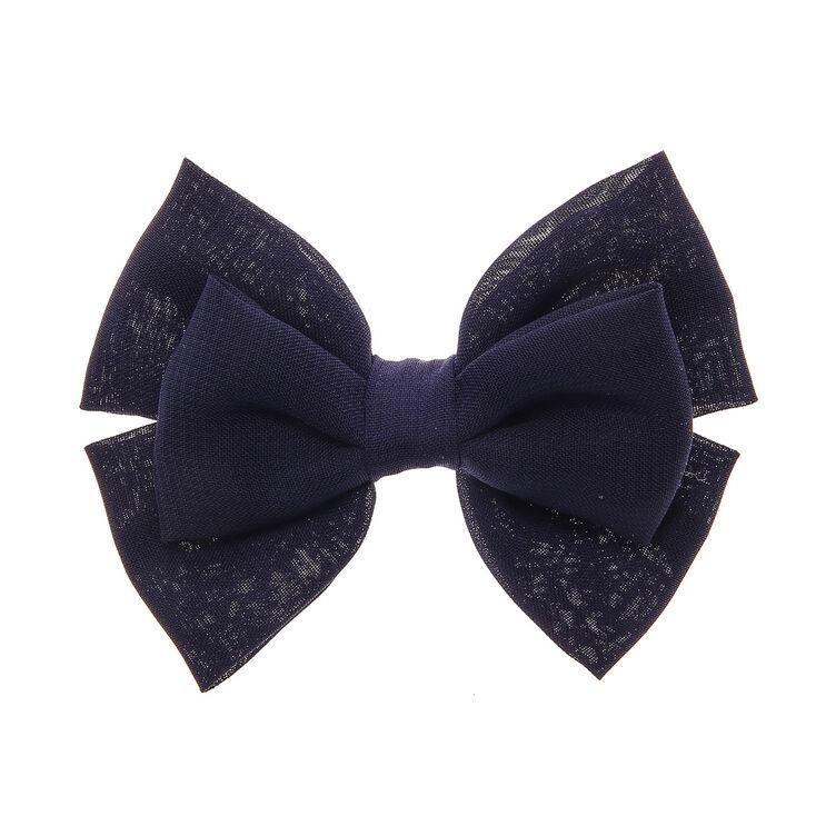 Barrette avec noeud double bleu marine souple,