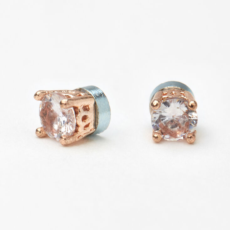 Rose Gold Filigree Cubic Zirconia Magnetic Stud Earrings - 5MM,