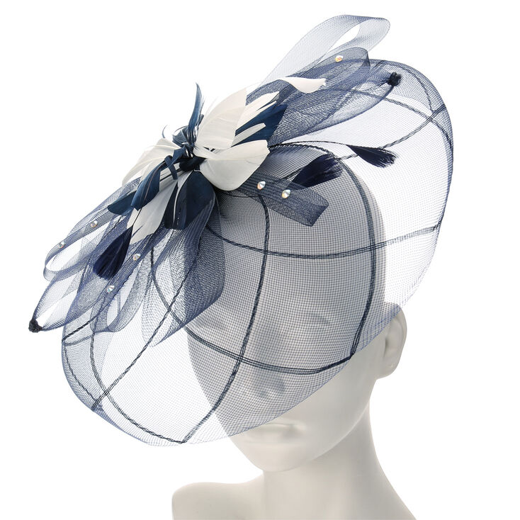 Navy and Cream Mesh Veil Hair Fascinator,