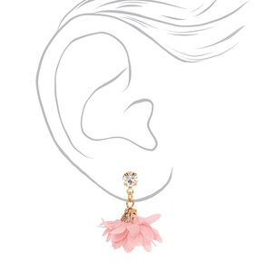 Gold Flower Leaf Mixed Earrings - Pink, 6 Pack,