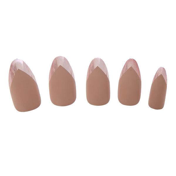 Claire's - Faux ongles mats couleur chair avec bouts chromés - 1