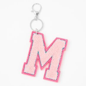 Pink Varsity Initial Keychain - M,
