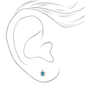Sterling Silver Embellished Turtle Stud Earrings - Turquoise,