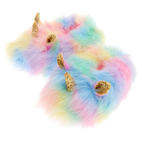 Go to Product: Faux Fur Rainbow Unicorn Slippers