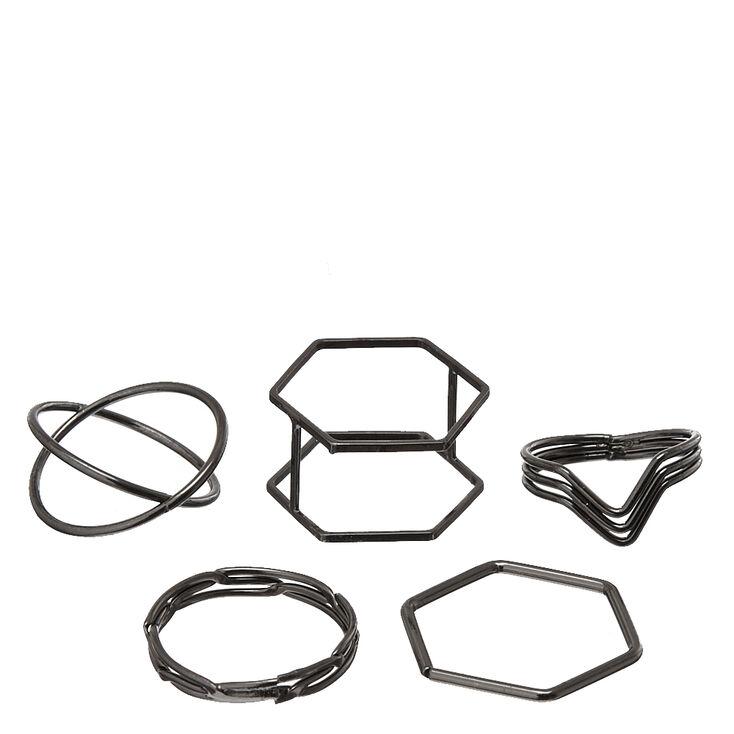 Lot de 5bagues géométriques de tailles variées,