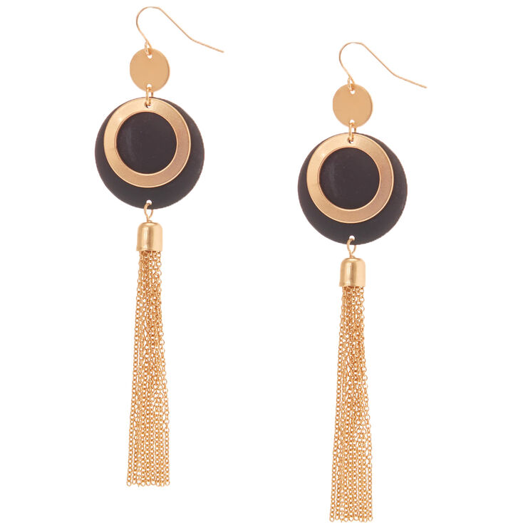 "Gold 4"" Double Disc Chain Drop Earrings - Black,"