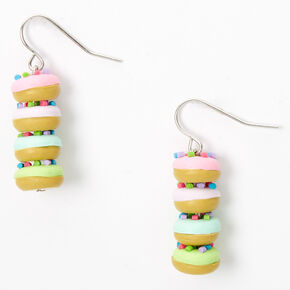 "Silver 1"" Rainbow Donut Drop Earrings,"