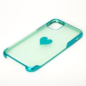 Coque de portable cœur vert menthe effet givré- Compatible avec iPhone 11,