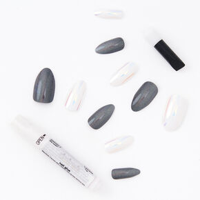 3D Cat Eye Holographic Stiletto Faux Nail Set - White, 24 Pack,
