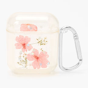 Clear Pressed Flower Silicone Earbud Case Cover - Compatible With Apple AirPods,