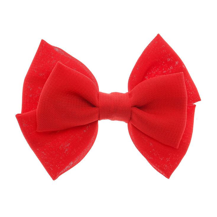Mini barrette à cheveux rouge à double noeud,