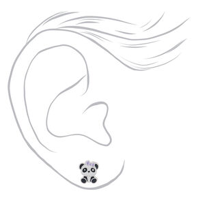 Sterling Silver Panda Bow Stud Earrings,
