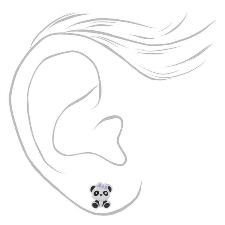 Sterling Silver Panda Bow Stud Earrings,