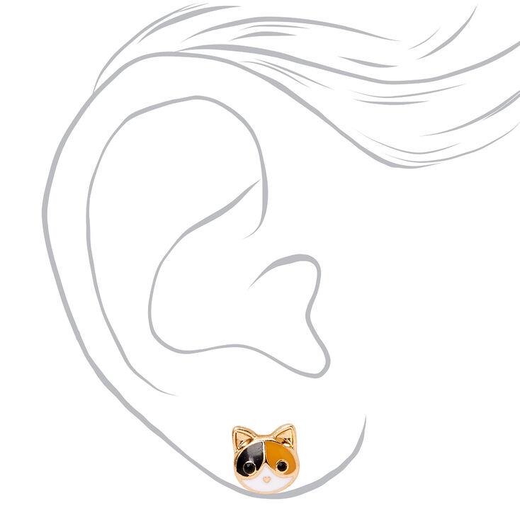 Gold Calico Cat Stud Earrings,