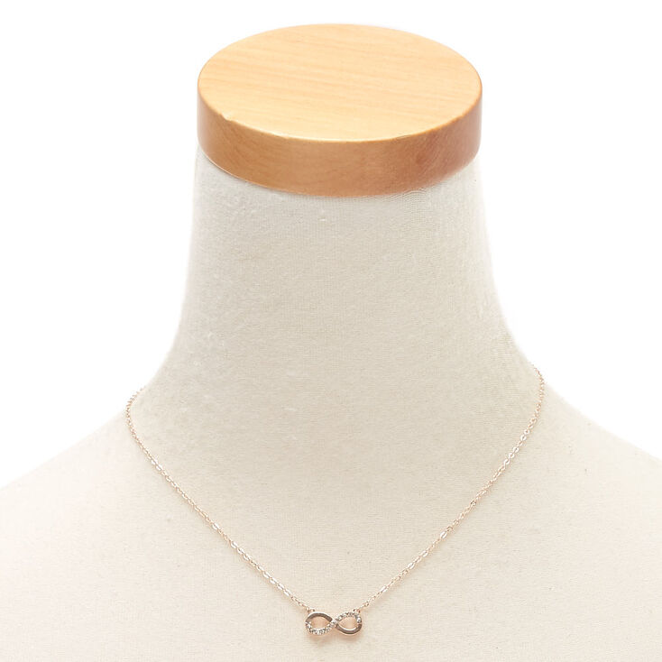 Rose Gold Embellished Infinity Pendant Necklace,