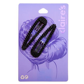 Black Rhinestone Snap Clips - 2 Pack,
