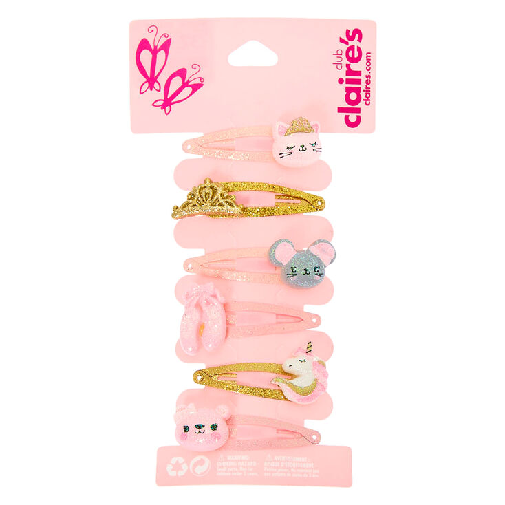 Claire's Club Glitter Ballerina Snap Hair Clips - 6 Pack,