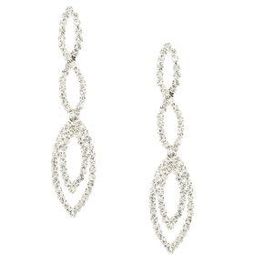 """Silver 1.5"""" Rhinestone Infinity Swirl Drop Earrings,"""