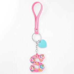Initial Unicorn Keychain - Pink, S,