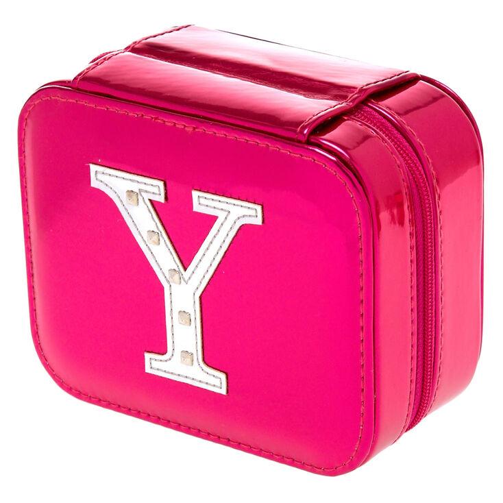 Boîte à bijoux rose métallisé à initiale «Y»,