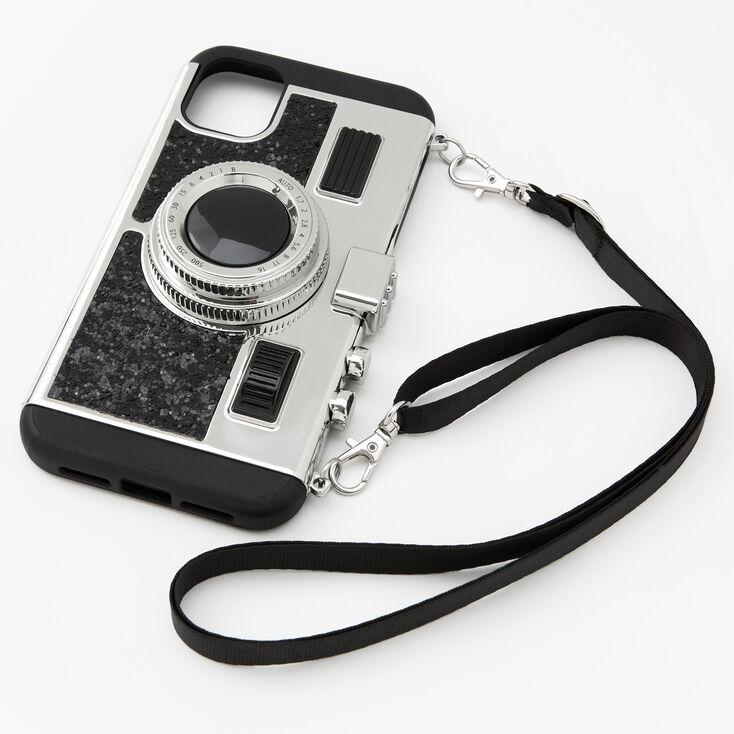 Black Glitter Camera Phone Case - Fits iPhone 11,