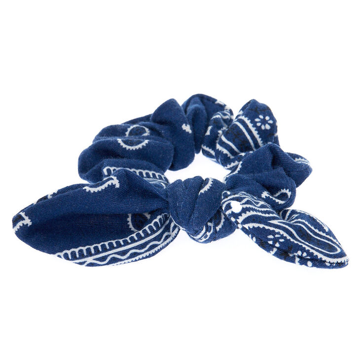 Small Bandana Knotted Bow Hair Scrunchie - Navy,