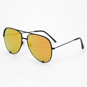 Red & Yellow Tinted Aviator Sunglasses - Black,