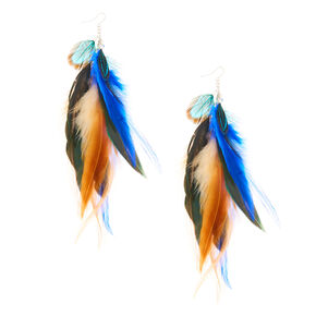 "Silver 7"" Feather Drop Earrings  - Blue,"